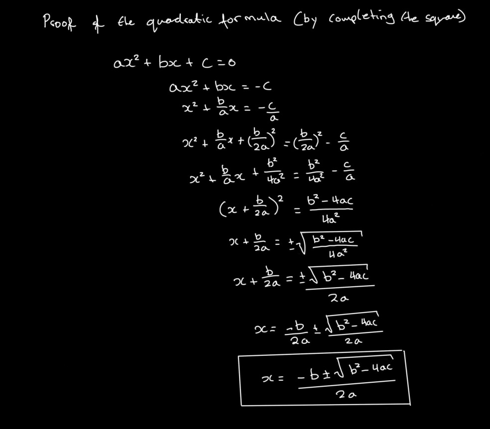 proof of quadratic formula by completing the square_rcsmith
